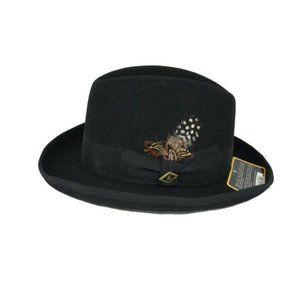 Stacy Adams Homburg Hat Wool Black